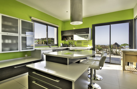Modern kitchen in the villa Stock Photo