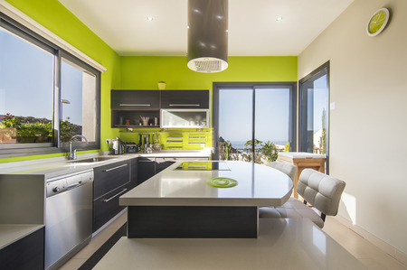 contemporary interior: Modern kitchen in the villa Stock Photo