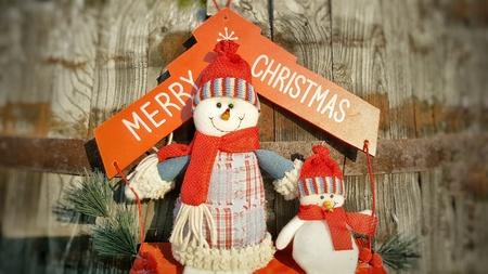 cristmas: Merry Cristmas snowmen. Holiday concept. Snowmen toy in summer Stock Photo