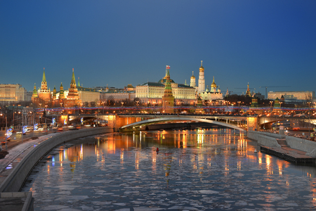 Night city. Kremlin on the banks of the Moscow river.