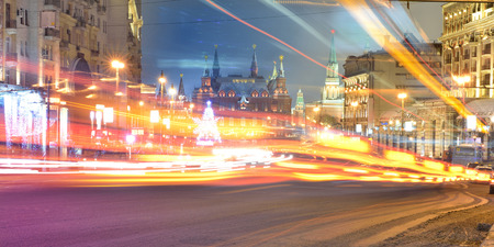 Lights at night Tverskaya street in Central Moscow.