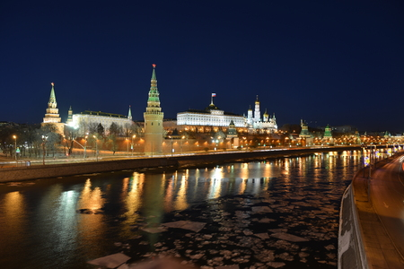 Night Kremlin, on the Bank of the Moscow river.