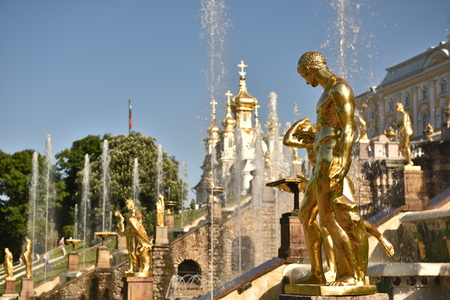State reserve Museum, the Golden Samson Fountain. St. Petersburg, Russia.