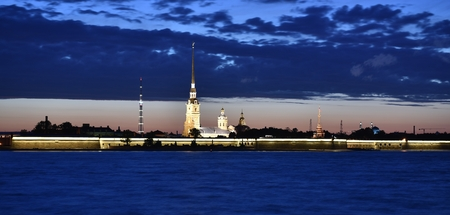 Evening St. Petersburg, view of the Peter and Paul fortress Редакционное
