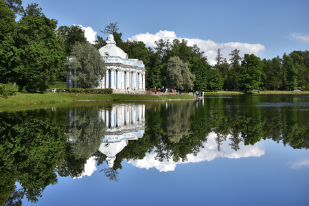 A large pond in the Catherine Palace in St. Petersburg