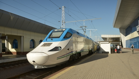 Tashkent, Uzbekistan - July 03, 2014: Afrasiab is a high-speed train of the Spanish company Patentes Talgo S. L.. Operated on the line Tashkent - Samarkand - Karshi.