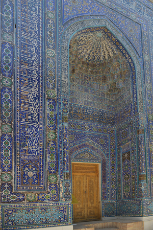 Samarkand, Uzbekistan - July 03, 2014: Shohizinda - a monument of medieval architecture in Samarkand, ensemble of mausoleums of the Samarkand nobility. Редакционное