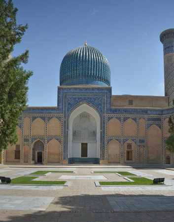 Samarkand, Uzbekistan - July 03, 2014: Mausoleum of Amir Timur (1336-1405). Political figure of the second half of the XIV century. He founded a huge Asian Empire and the Timurid dynasty. The state capital was the city of Samarkand. Редакционное