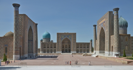 Samarkand, Uzbekistan - June 03, 2014: the Registan square in the center of Samarkand. Samarkand square is the most famous Registan because it is located on her famous architectural ensemble of XV-XVII centuries. Редакционное