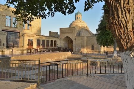 The architecture of the ancient city. The old buildings on the majestic streets of Bukhara in Uzbekistan.