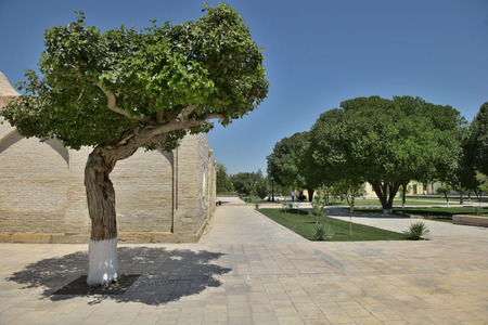 worshipped: Bukhara, Uzbekistan - August 05 2015: The MEMORIAL COMPLEX of BAHAUDDIN NAQSHBANDI (1318-1389), is a center of pilgrimage as it was worshipped not only in Bukhara but also in the whole Islamic world.
