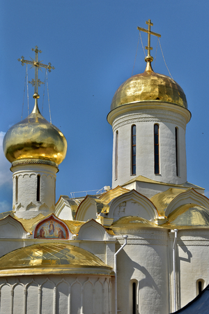 The Cathedral of the Holy Trinity St. Sergius Lavra. The Shrine of all Christians. The center of pilgrimage of the Christian world. Sergiyev Posad is included into the Golden ring of Russia. Фото со стока - 62946869