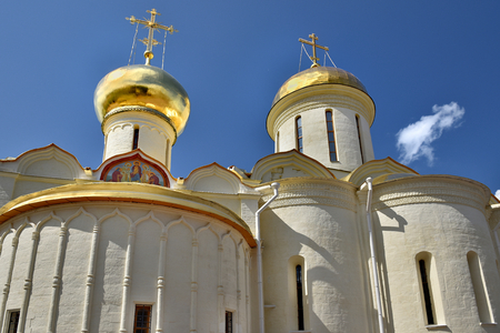 The Cathedral of the Holy Trinity St. Sergius Lavra. The Shrine of all Christians. The center of pilgrimage of the Christian world. Sergiyev Posad is included into the Golden ring of Russia. Фото со стока - 62946871