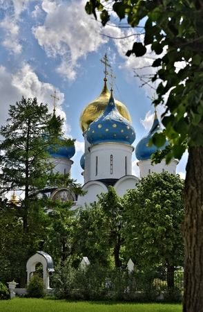 The Cathedral of the Holy Trinity St. Sergius Lavra. The Shrine of all Christians. The center of pilgrimage of the Christian world. Sergiyev Posad is included into the Golden ring of Russia. Фото со стока - 62946874