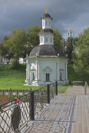 The Holy spring at the Church of the Holy Trinity St. Sergius Lavra. Sergiyev Posad is included into the Golden ring of Russia and is a pilgrimage center of the Christian world.