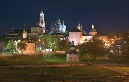 Night panorama of the Cathedral of the Holy Trinity St. Sergius Lavra. The Shrine of all Christians. The center of pilgrimage of the Christian world. Sergiyev Posad is included into the Golden ring of Russia.