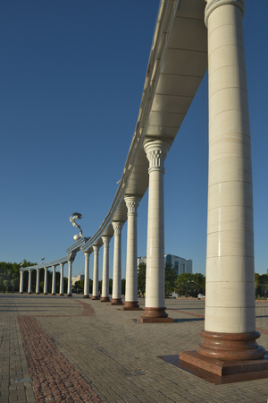 The Colonnade in front of the Central square (Mustakillik), where there are celebrations and military parades in the days of special events and public holidays.