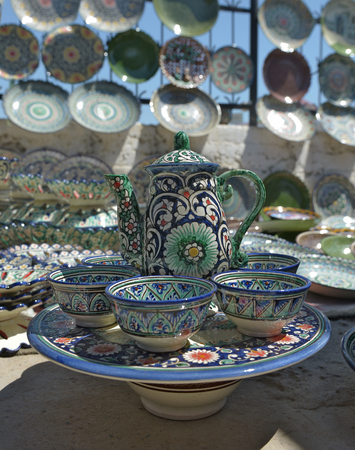Eastern tea sets and Uzbek Souvenirs are sold at the Central Bazaar in Tashkent.