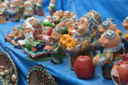 Uzbek national Souvenirs are sold at the Central Bazaar in Tashkent.
