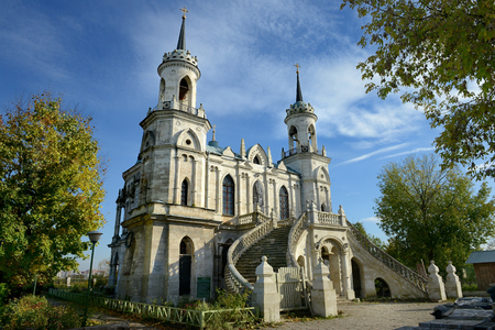 gothic revival: Church of the Vladimir icon of the Mother of God - the famous monument of Russian Gothic revival of the eighteenth century in the village of Bykovo, Ramensky district Moscow region.
