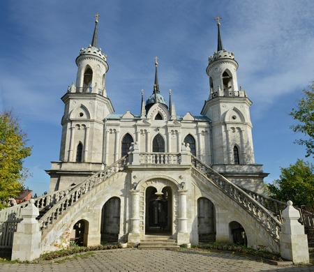 Church of the Vladimir icon of the Mother of God - the famous monument of Russian Gothic revival of the eighteenth century in the village of Bykovo, Ramensky district Moscow region.