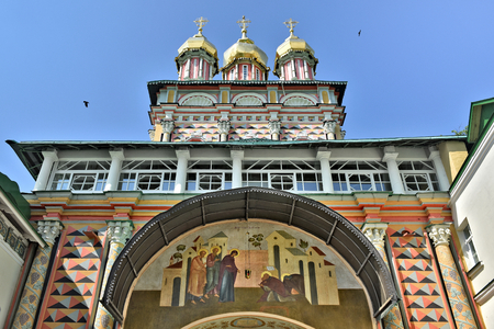 The Main entrance to the Cathedral of the Holy Trinity St. Sergius Lavra. Sergiyev Posad is included into the Golden ring of Russia and is a pilgrimage center of the Christian world. Фото со стока - 62946904