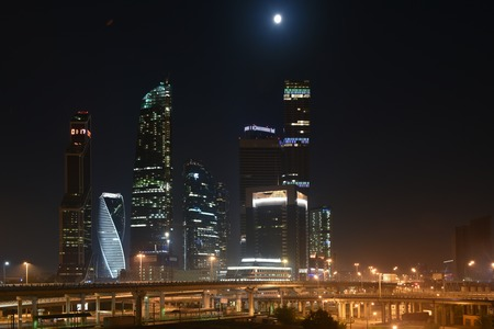 Moscow, Russia - 21 August 2016: Business center Moscow city. Night panorama of the big city.