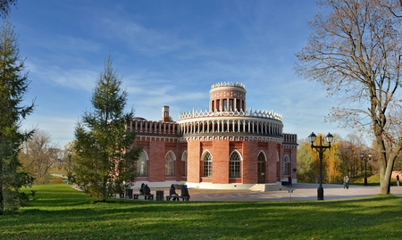 Moscow, Russia - October 13, 2013: the Park Tsaritsyno State historical-architectural, art and landscape Museum-reserve, which is located in the South of Moscow and includes the Palace complex, a greenhouse, a historic landscape Park with ponds and foun
