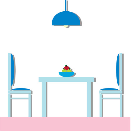 kitchen furniture: Dining room Modern with furniture. Flat Vector Illustration. Illustration