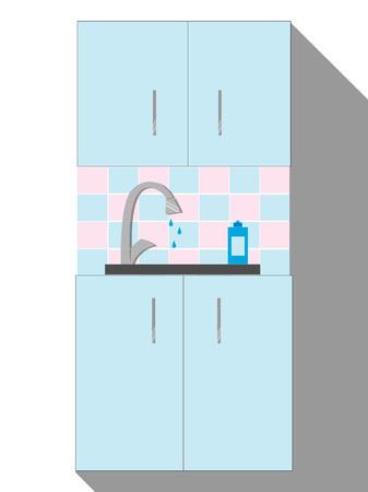 Kitchen Sink. Cartoon Modern Interior with kitchenware. Vector illustration in Flat style.