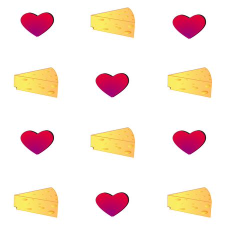 Cheese and heart Seamless Pattern. Vector Background with Cartoon Food and Heart.