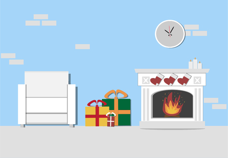 Christmas Living room interior with fireplace, white armchair and New Year gifts. Flat vector Illustration. Çizim