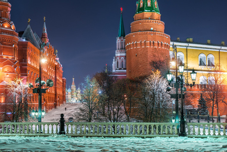 Frosty morning at the Manege Square in Moscow, and a view of the St. Basils Cathedral