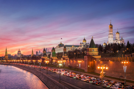 Rare beautiful sunset over the of miserly December the Moscow Kremlin Stock Photo