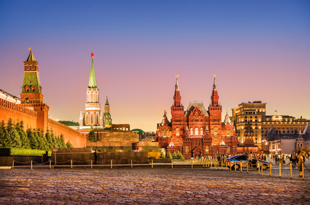 Sunset view of the Kremlin wall and Historical Museum