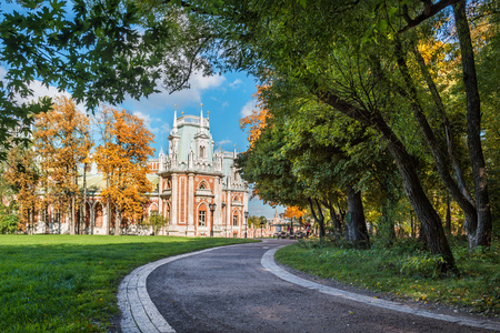 Path to the palace in Tsaritsyno in Moscow a clear autumn day and the autumn park