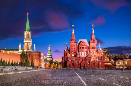 Historical Museum on Red Square in Moscow under a blue night sky