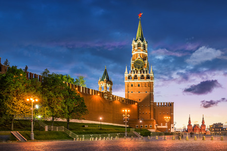 spasskaya: Spasskay Tower on Red Square in Moscow on a summer evening