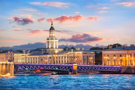 Kunstkamera and the Palace Bridge in the evening illumination on one summer evening