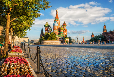 Flowers near the road to the St. Basils Cathedral on Red Square in Moscow