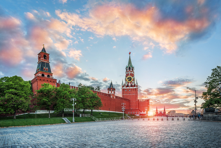 The Spassky Tower of the Moscow Kremlin and the summer sunset with clouds