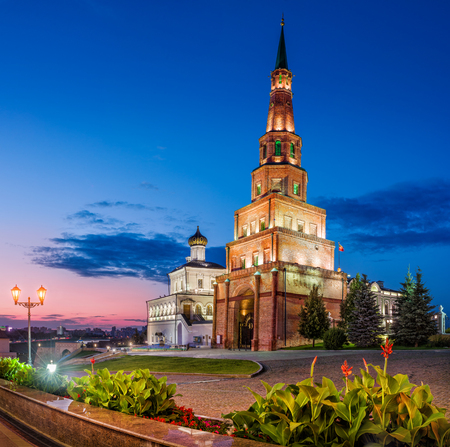 famous tower of Syuyumbike  in the Kazan Kremlin in the summer night