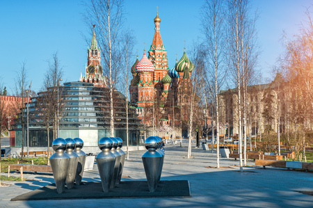 View of St. Basils Cathedral and Spassky Tower in Moscow from Zaryadye Park on a spring sunny morning