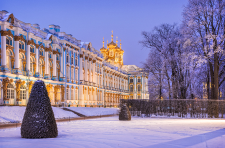 Lilac light of the evening around the Catherine Palace in Tsarskoye Selo winter snowy evening