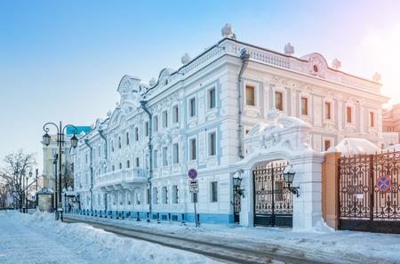 Rukavishnikov Manor in Nizhny Novgorod on a winter snowy sunny day