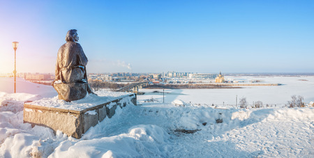 Monument to Maxim Gorky in Nizhny Novgorod on the high bank of the Volga in a winter sunny day