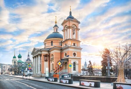 St. Barbara's Church on Varvarka Street in Moscow in the rays of the morning spring sun