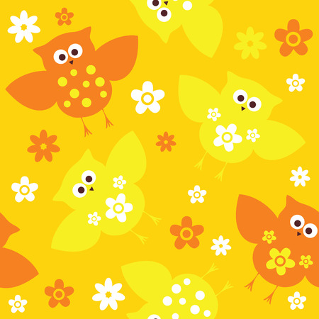 colourfull: Seamless colourfull owl and flowers pattern for kids