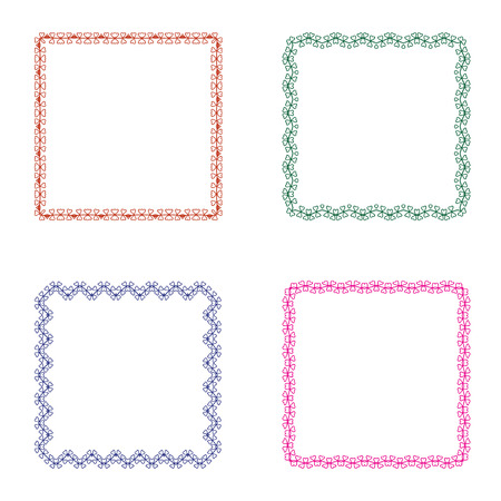texturized: Set of four square frames. Cute simple design for the decoration of cards, invitations. Frame for your text.