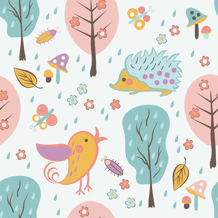 Forest seamless pattern. Floral background with cute bird and hedgehog. Use it as pattern fills, web page background, surface textures, fabric or paper, backdrop design.